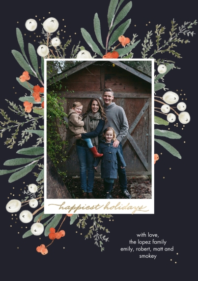 Holiday Photo Cards 5x7 Cards, Premium Cardstock 120lb with Elegant Corners, Card & Stationery -Holiday Happiest Berries by Tumbalina