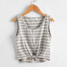 Girls Button Detail Knot Hem Striped Tank Top