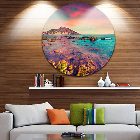 Design Art Giallonardo Beach Colorful Sunset Circle Metal Wall Art, One Size , Red