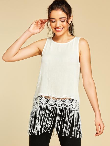 YOINS White Crochet Lace Embellished Tassel Details Tank Top