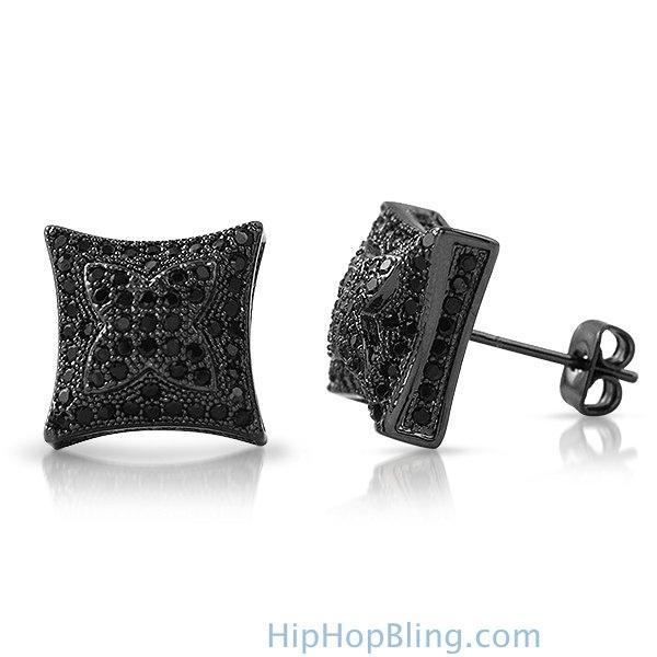 3D X Kite Black CZ Micro Pave Hip Hop Earrings