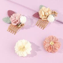4pcs Toddler Girls Flower Decor Hair Clip & Hair Pin
