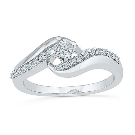 Promise My Love Womens 1/5 CT. T.W. Genuine White Diamond Sterling Silver Promise Ring, 5 , No Color Family