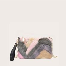 Kunstpelz Tasche mit Farbblock