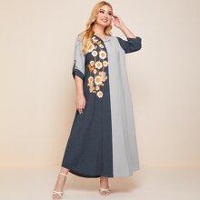 Plus Sunflower Print Button Front Plaid Maxi Dress