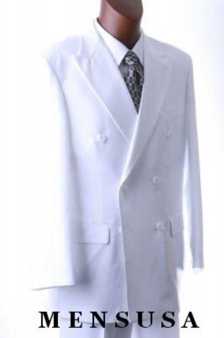 2pc MEN'S SHARP Double Breasted DRESS SUIT Snow Solid White