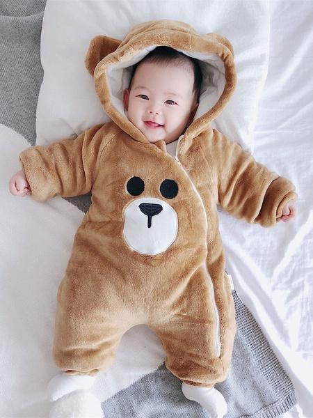 Milanoo Bear Pajamas Kigurumi Onesie Baby Toddlers White Flannel Jumpsuit For Kids Halloween