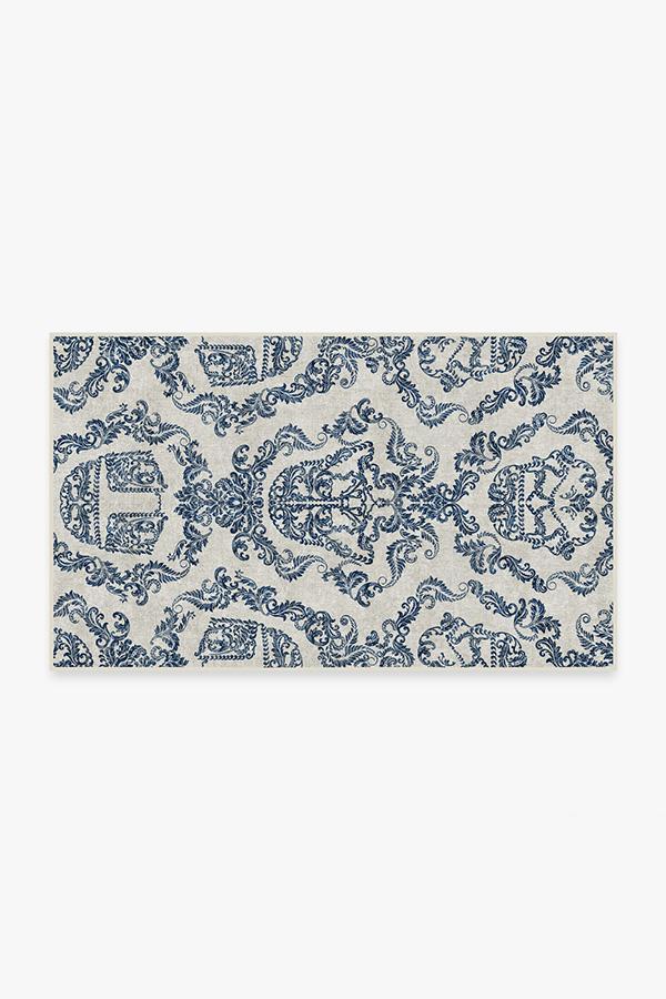 Washable Rug Cover | Dark Side Damask Delft Blue Rug | Stain-Resistant | Ruggable | 3x5