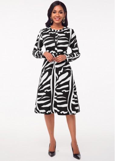 Black Dresses Round Neck Printed Long Sleeve Dress - S