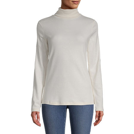 St. John's Bay-Womens Turtleneck Long Sleeve T-Shirt, Petite Xx-large , White