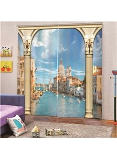 3D Blue Venice Scenery Print Blackout and Decorative Curtains for Living Room Bedroom