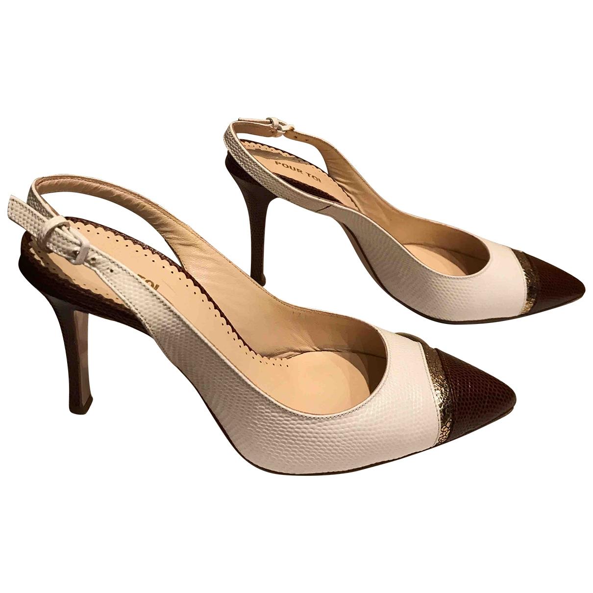Pas Pour Toi \N White Leather Heels for Women 37 EU