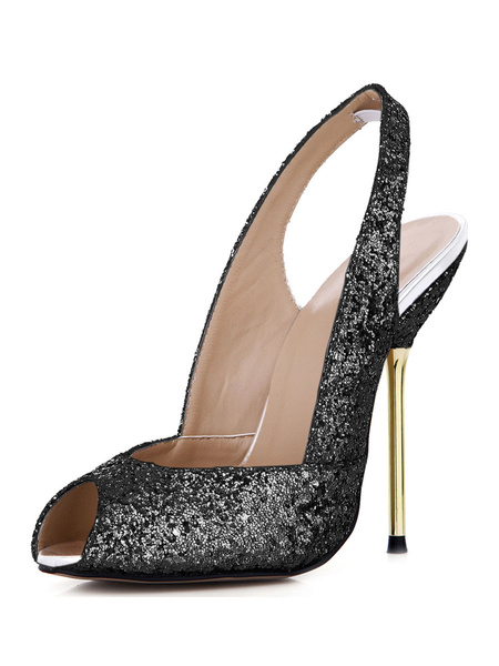Milanoo Zapatos negros con lentejuelas y estampado de serpiente de tacon alto