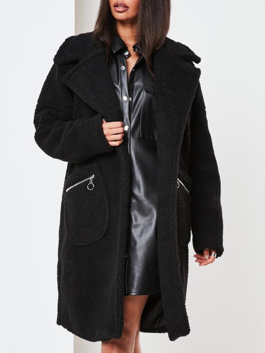LW Lovely Casual Lapel Collar Pocket Design Black Faux Fur