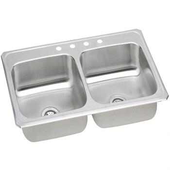 CR43224 43 Top Mount Self-Rim Double Bowl 20-Gauge Stainless Steel Sink With 4