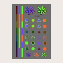 1 Blatt Leuchtender Tattoo Aufkleber mit Geometrie Muster