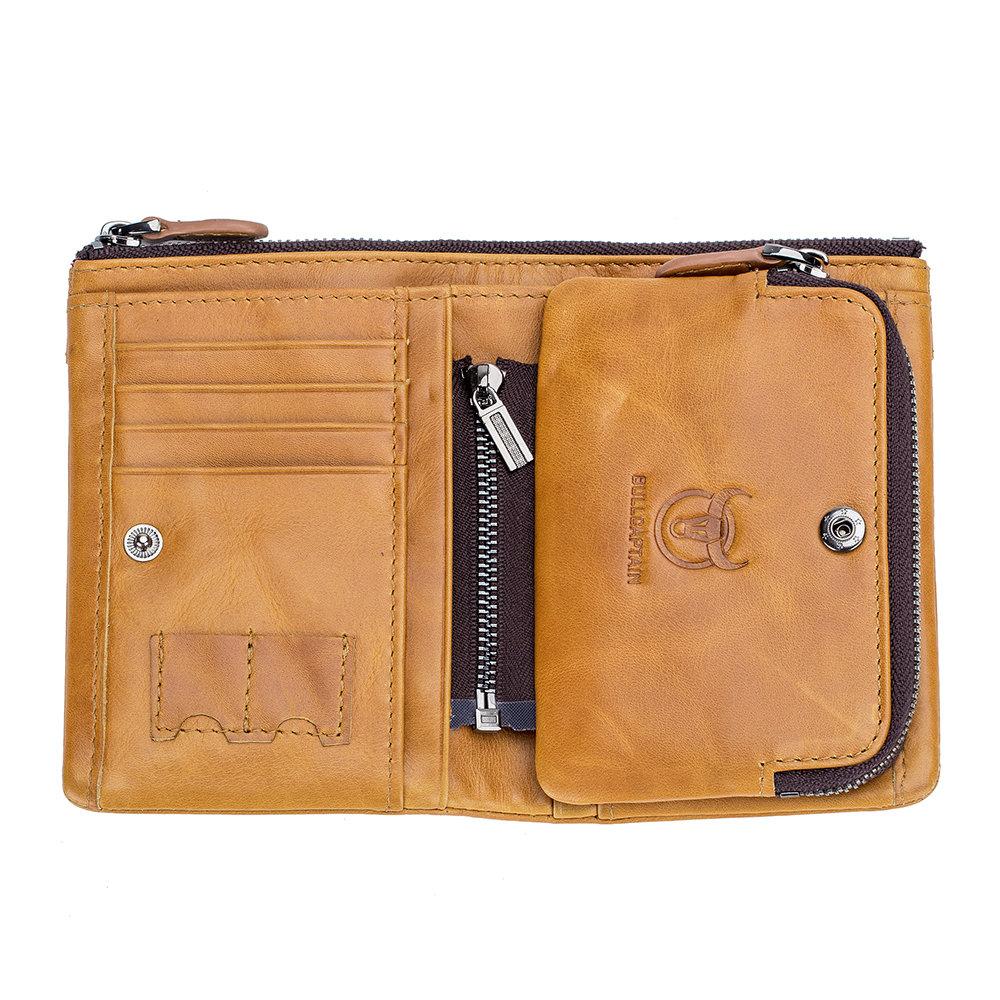 Men Zipper Detachable Purse Genuine Leather Wallet Storage Card Bag