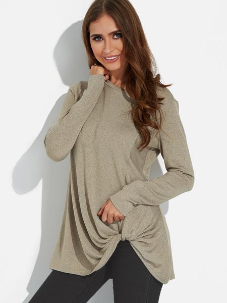 Yoins Taupe Twist Round Neck Long Sleeves Irregular Hem T-shirt