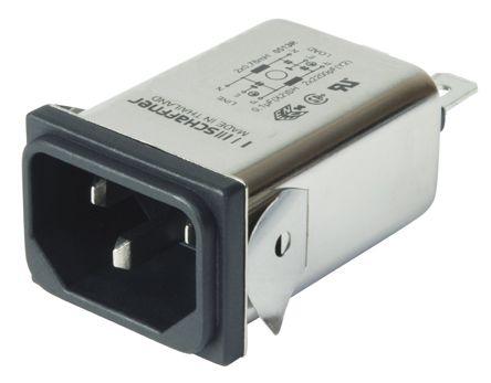 Schaffner ,15A,250 V ac Male Snap-In IEC Inlet Filter FN9222SR-15-06,Faston
