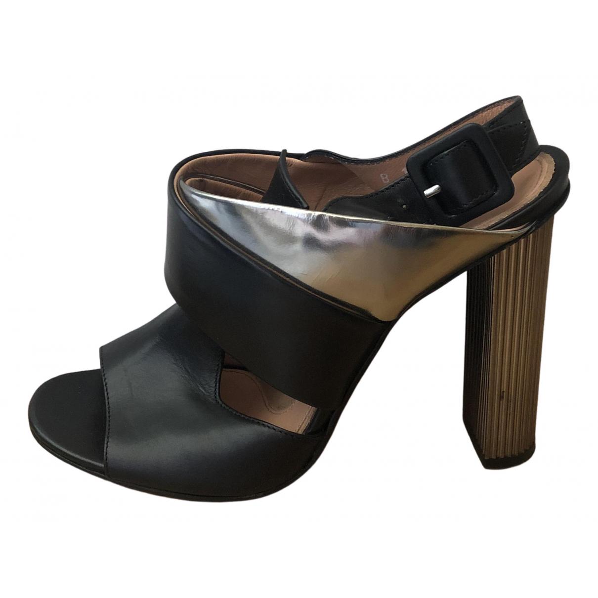 Robert Clergerie \N Black Leather Sandals for Women 39 EU