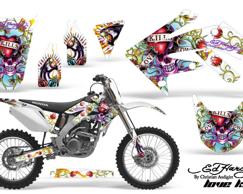 AMR Racing Dirt Bike Graphics Kit Decal Sticker Wrap For Honda CRF250R 2004-2009áEDHLK WHITE