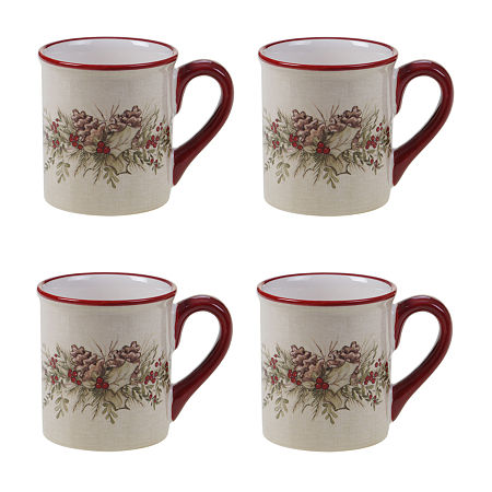 Certified International Holiday Traditions 4-pc. Coffee Mug, One Size , White