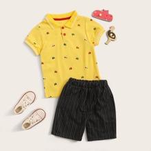 Vielfarbig Gestreift Laessig Kleinkind Jungen zweiteilige Outfits