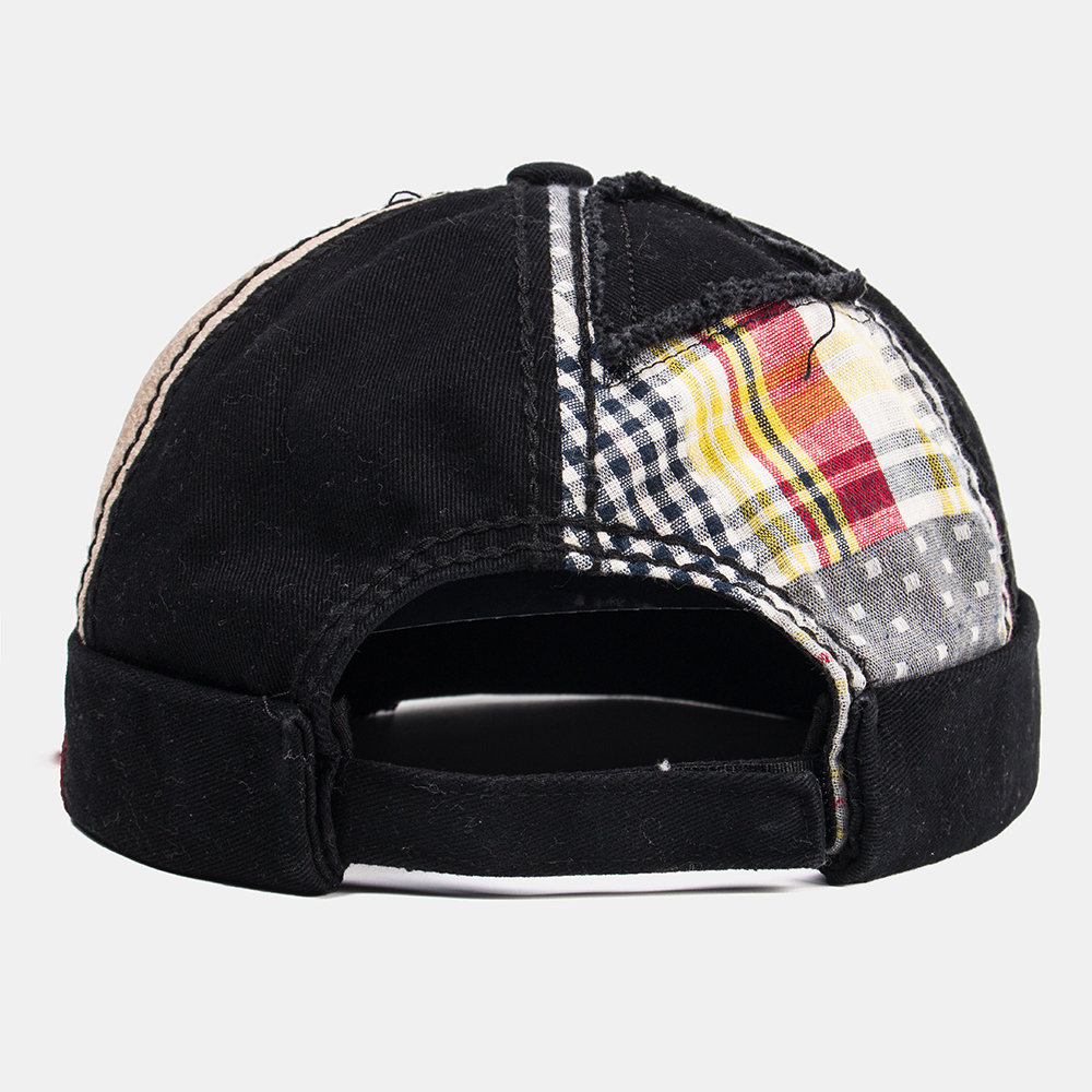 Mens's Patched Skull Caps Cotton Color Matching Plaid Brimless Hat