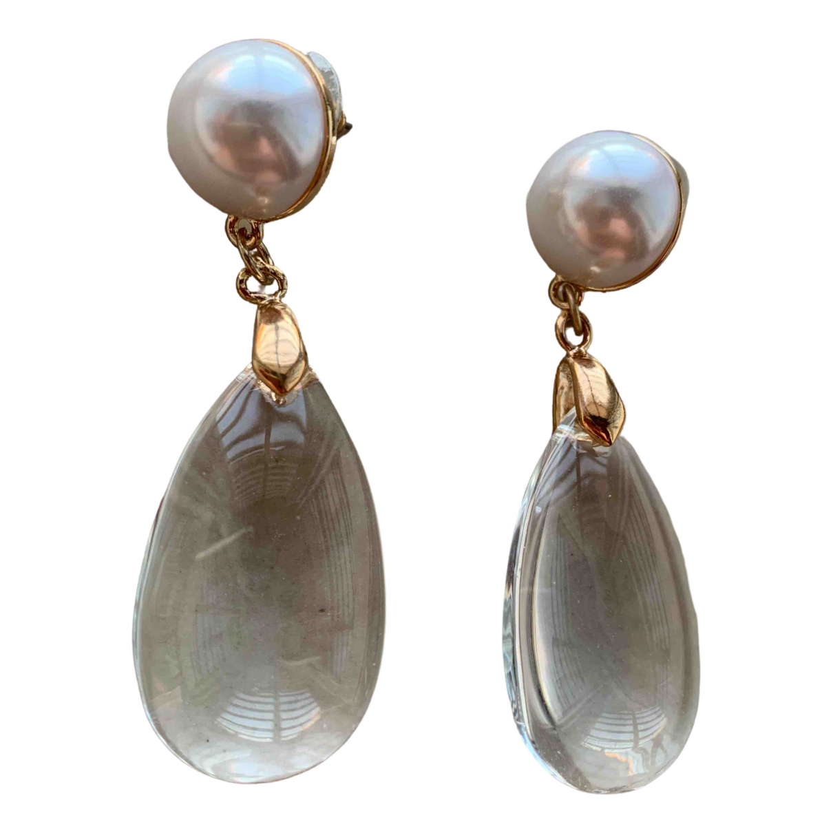 Non Signé / Unsigned \N White Glass Earrings for Women \N
