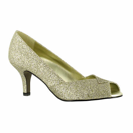 Easy Street Womens Ravish Pumps Peep Toe Kitten Heel, 11 Medium, Yellow