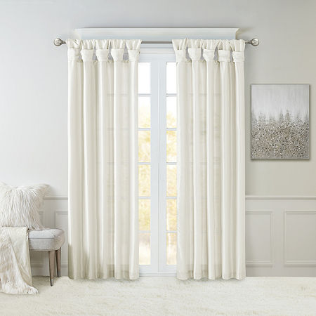 Madison Park Natalie Twisted Tab Light-Filtering Tab-Top Single Curtain Panel, One Size , White