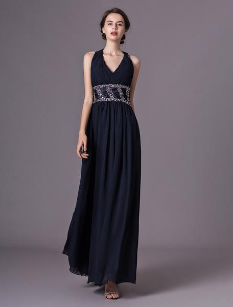 Milanoo Vestidos de noche negros Vestido de fiesta largo con cuentas de gasa con espalda cruzada en azul marino oscuro
