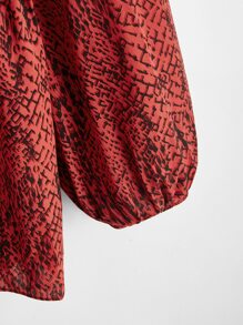 Plus Snakeskin Print Tie Neck Peplum Blouse