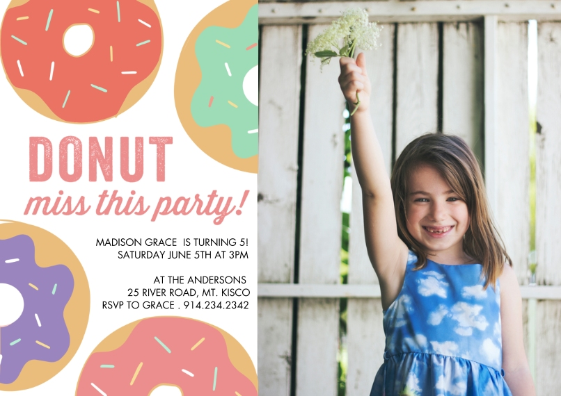Kids Birthday Party Flat Glossy Photo Paper Cards with Envelopes, 5x7, Card & Stationery -Birthday Party Colorful Donuts by Tumbalina