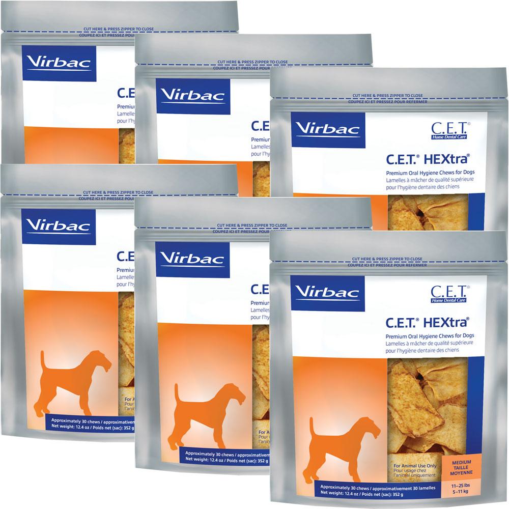 6-PACK CET Hextra Premium Enzymatic for Medium Dogs (180 Chews)