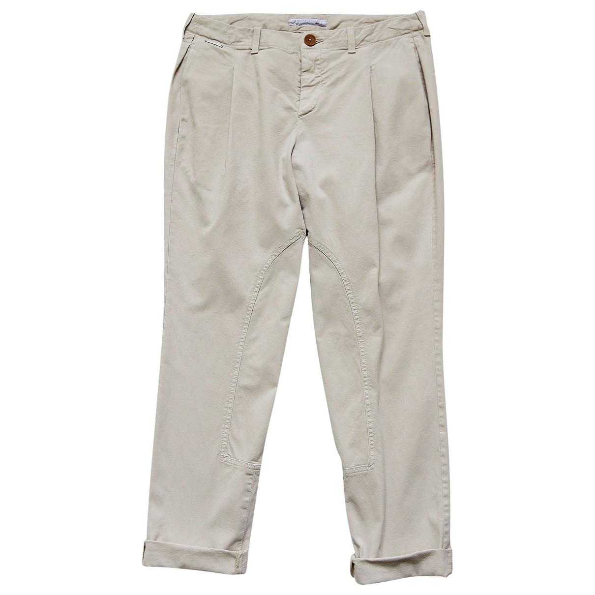 Fabiana Filippi \N Beige Cotton Trousers for Women 42 IT
