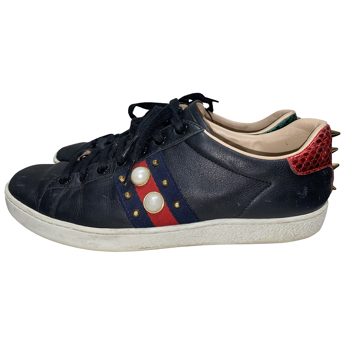 Gucci Ace Black Leather Trainers for Women 38 EU