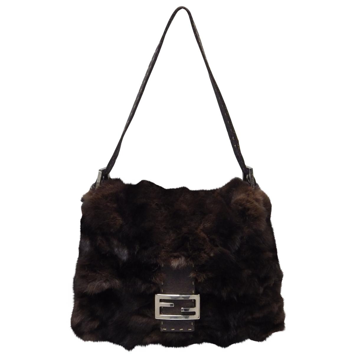 Fendi Mamma Baguette  Brown Fur handbag for Women N