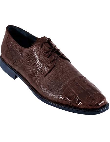 BROWN Genuine Caiman Crocodile Lizard Dress Oxford Los Altos Shoes