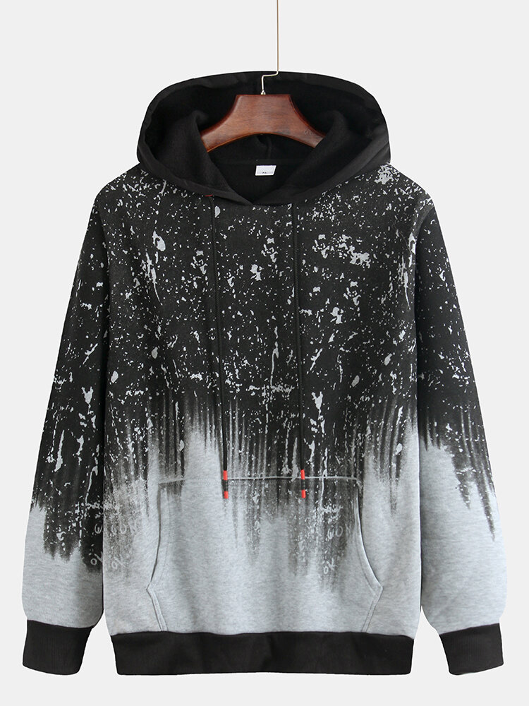 Mens Jacquard Abstract Graffiti Printed Kangaroo Pockets Drawstring Hoodie