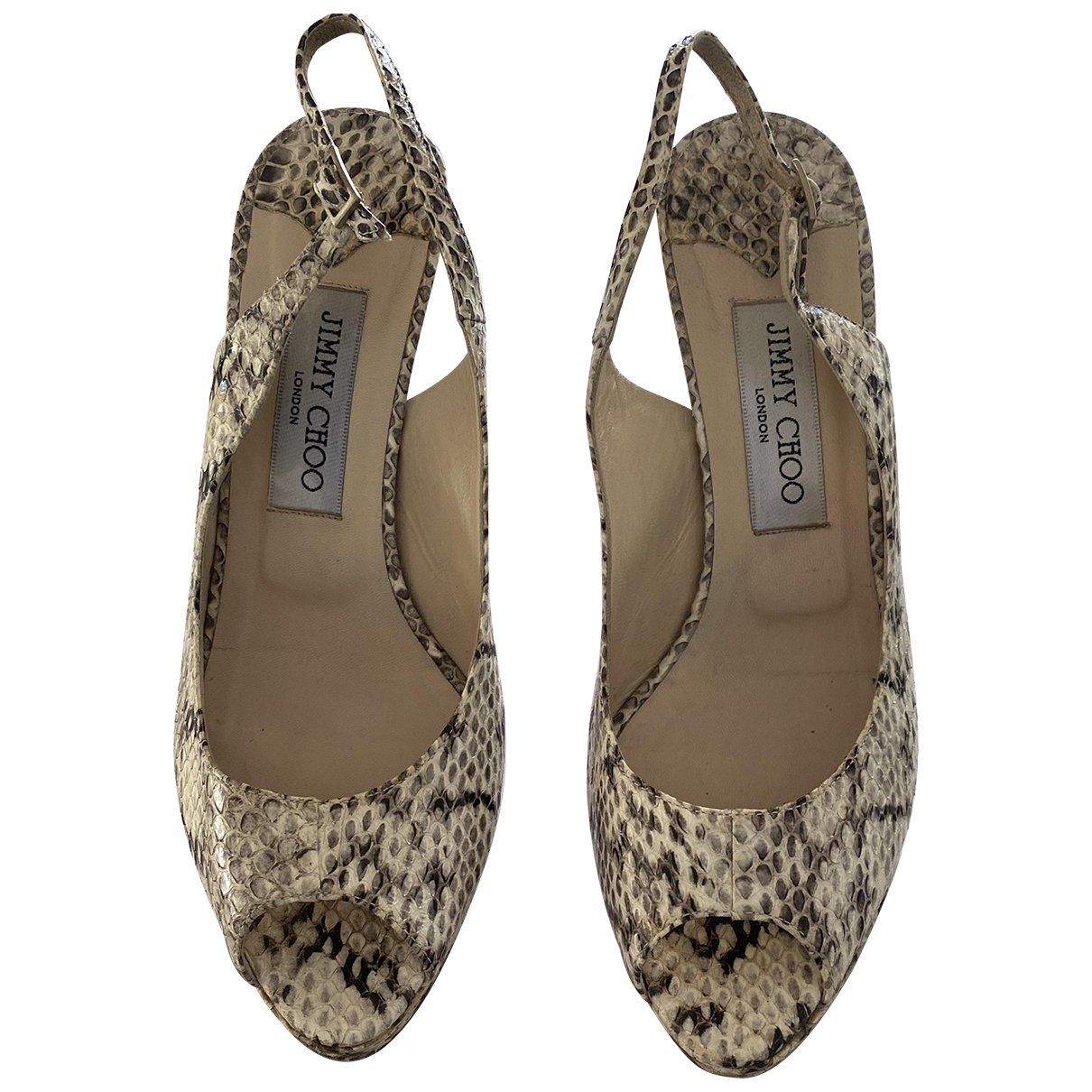 Jimmy Choo - Sandales   pour femme en serpent deau - beige