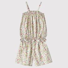 Cami Top mit Bluemchen Muster, Raffungsaum und Shorts