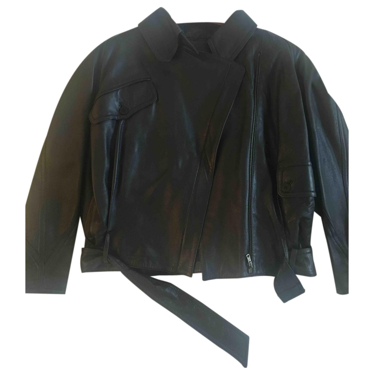 Non Signé / Unsigned N Black Leather Leather jacket for Women 38 FR