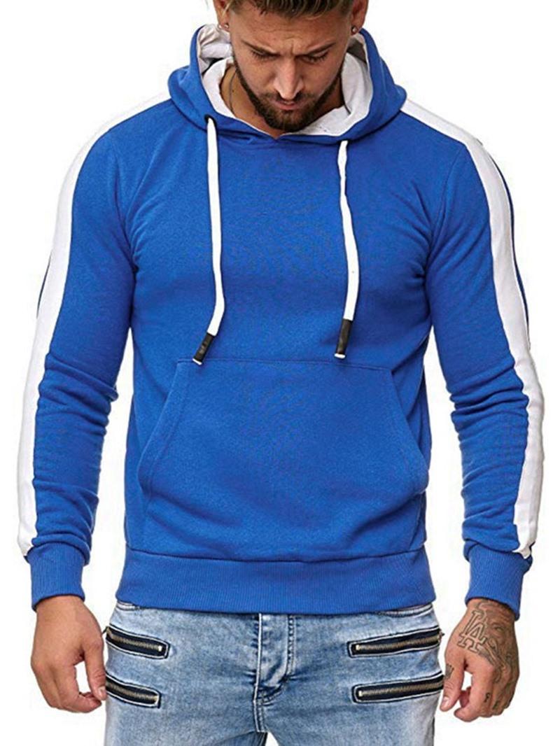 Ericdress Pullover Color Block Patchwork Casual Mens Slim Hoodies