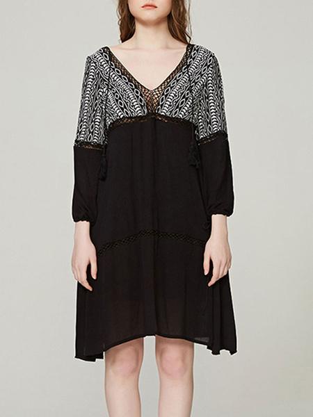 Milanoo Boho Summer Dress V Neck Sleeved Embroidered Beach Dress