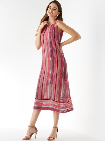 YOINS Rose Stripe Round Neck Sleeveless Dress