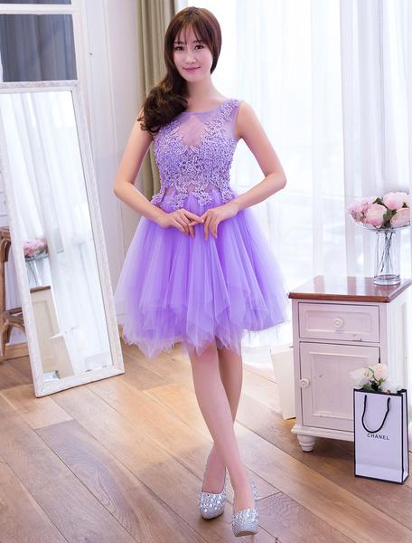 Milanoo Tulle Homecoming Dresses Lace Applique Tutu Dress Light Gray Short Prom Dress