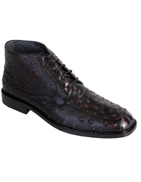 Men's Ostrich Dress Ankle Boots Leather Outsole High Top Shoes