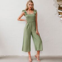 Ruffle Strap Shirred Wide Leg Jumpsuit