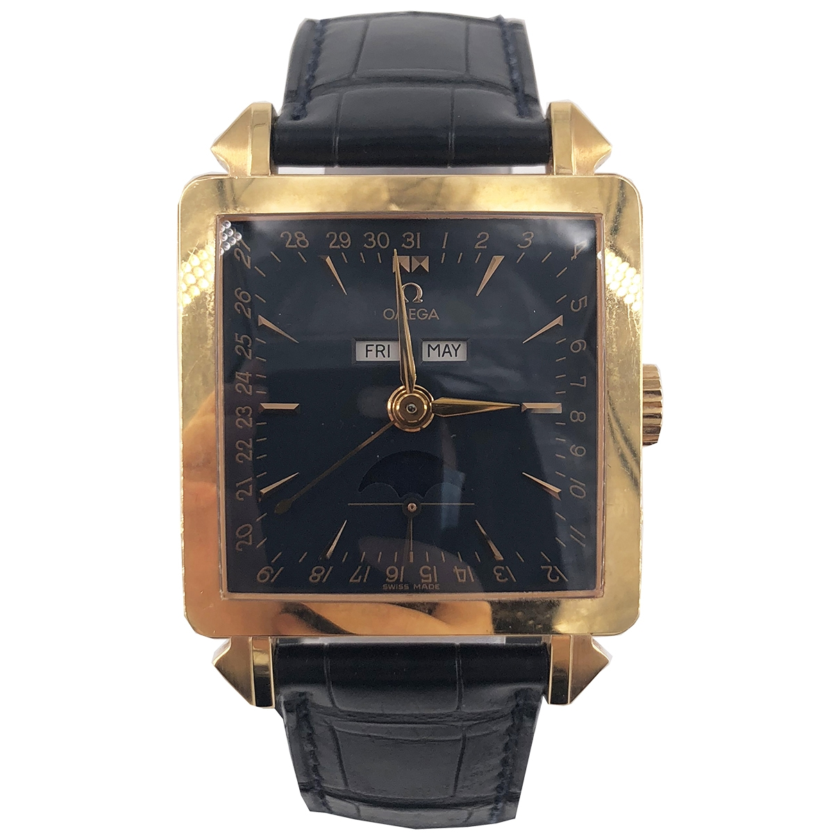 Omega \N Black Yellow gold watch for Men \N
